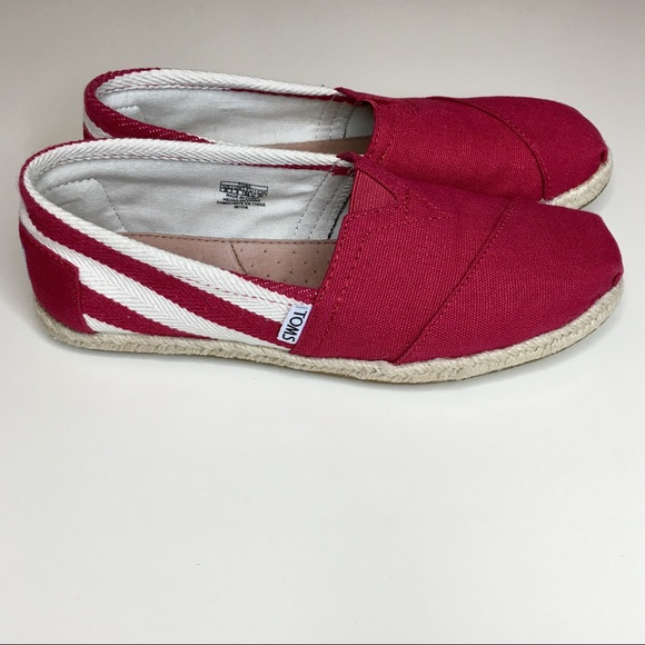 Toms Shoes | Red White Espadrille Flats